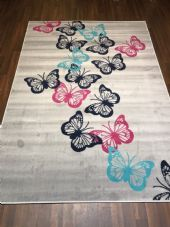 Modern Rugs Approx 6x4 120x170cm Woven Backed Silver Butterflys Quality rugs